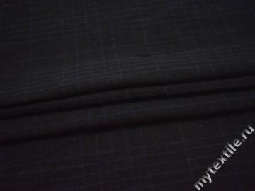 Пальтовая черная синяя ткань полоска полиэстер шерсть ГЁ130