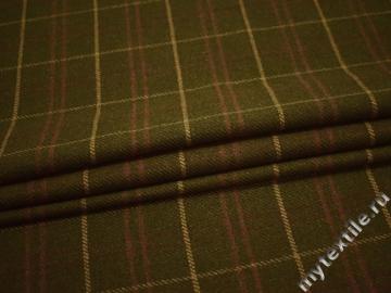 Пальтовая оливковая ткань клетка полиэстер шерсть ГЁ136
