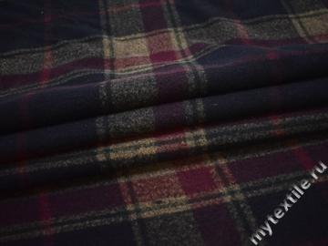 Пальтовая синяя бордовая ткань полоска полиэстер ГЖ624