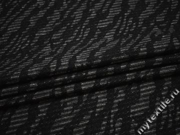 Пальтовая черная серая ткань абстракция шерсть полиэстер ГЁ328