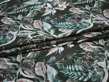 Хлопок эластан бирюзовый зеленый листья ББ1118
