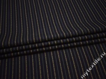Костюмная синяя ткань полоска вискоза полиэстер ВГ382