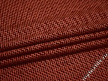 Костюмная терракотовая черная ткань геометрия шерсть полиэстер ВГ287