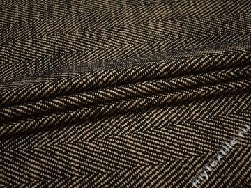 Пальтовая бежевая черная ткань шерсть полиэстер ГЖ357