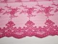 Сетка розовая с вышивкой цветочный узор полиэстер ГВ443