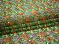 Сетка зеленая оранжевая с вышивкой узор полиэстер ГВ438