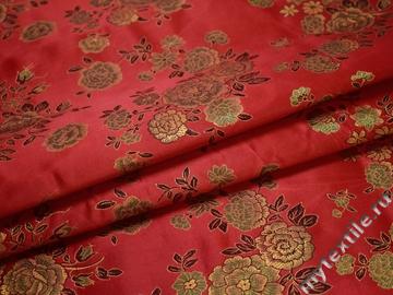 Китайский шёлк красный черный цветы полиэстер ГВ424