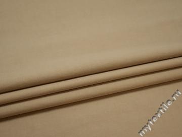 Костюмная бежевая ткань хлопок эластан ЕА558