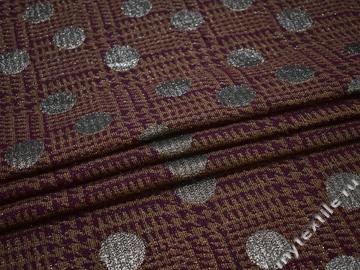 Пальтовая бордовая ткань люрекс круги шерсть полиэстер ГЁ641