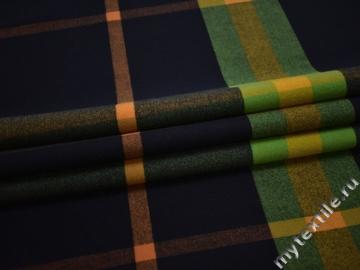 Пальтовая синяя зеленая ткань хлопок полиэстер ГЁ551