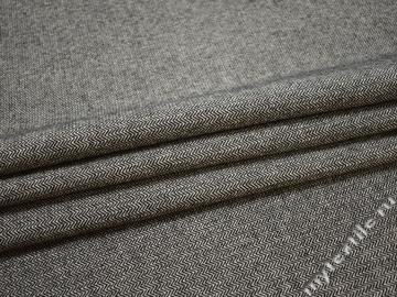 Пальтовая серая черная ткань зигзаг хлопок полиэстер ГЁ648