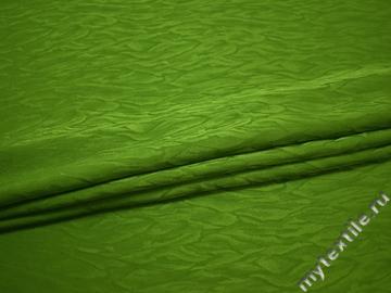 Плательная зеленая ткань полиэстер ДЁ485