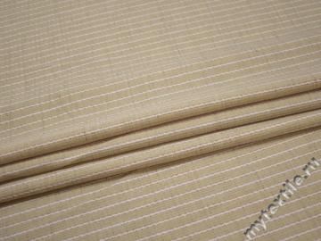 Костюмная бежевая белая ткань полоска вискоза полиэстер лен ГЕ4121