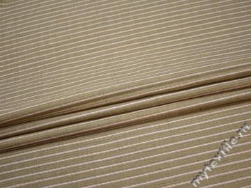 Костюмная оливковая белая ткань полоска вискоза лен полиэстер ГЕ4132