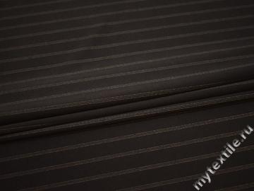 Костюмная коричневая ткань полоска вискоза полиэстер эластан ВВ153