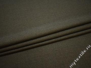 Костюмная цвета хаки ткань шерсть ГГ554