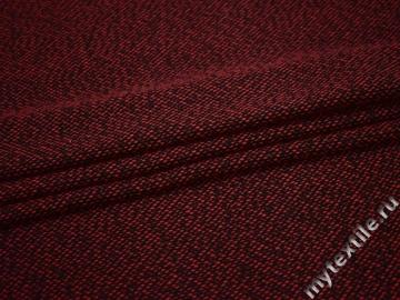Пальтовая бордовая черная ткань полиэстер ГЖ247