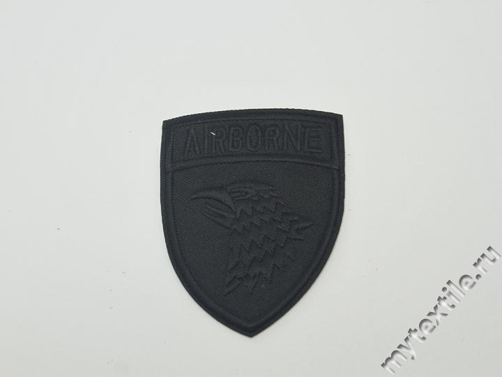Термонаклейка черная с надписью Airborne