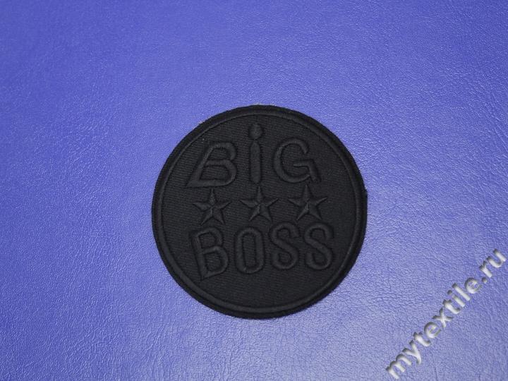 Термонаклейка черная с надписью Big Boss