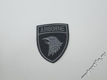 Термонаклейка черно-серая с надписью Airborne