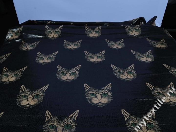 Кожзаменитель графитового цвета с кошками
