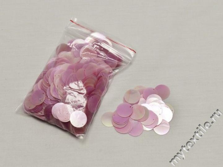 Пайетки светло-розового цвета 1,5 см