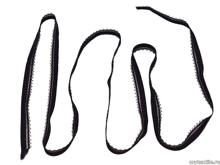 Декоративная резинка чёрного цвета 1 см